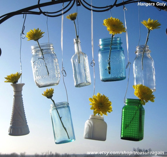 Multi Size Jar Hangers 10 for Mason Jars, Bottles, Recycled Jars, Hanging Wedding Candles, Flower DIY Hangers or Garden Lanterns, no jars. $30.00, via Etsy.