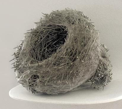 Nest made of stainless steel pins by Kazumi Tanaka