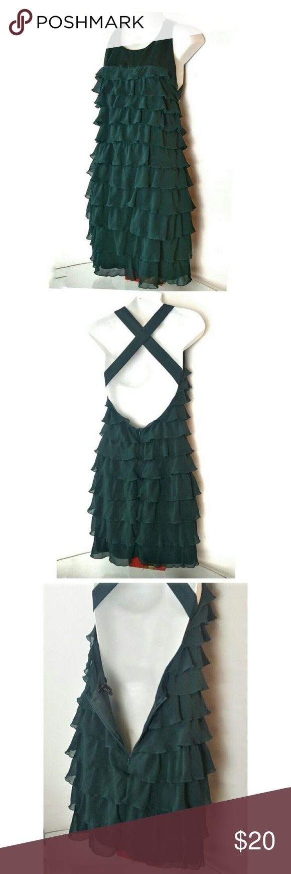 """GREEN Cocktail Ruffle open back Dress Small Mango Suit Collection Cocktail Ruffle open back Dress sz. Marked as 6, but really Small (2) APPROXIMATE MEASUREMENTS: LENGTH 36-37"""" BUST 15"""" measured across  HIPS 17"""" measured across  GOOD PRE-OWNED CONDITION  PETS AND SMOKE FREE HOUSE  WILL SHIP WITHIN 24 HOURS FROM CLEARED PAYMENT Mango Dresses"""