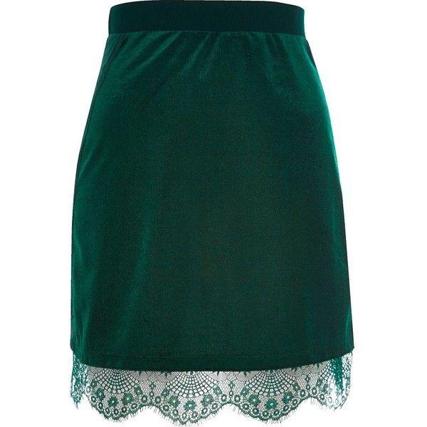 River Island Dark green velvet lace trim mini skirt (£25) ❤ liked on Polyvore featuring skirts, mini skirts, green, women, green velvet skirt, zipper skirt, short skirts, velvet skirts and dark green skirt