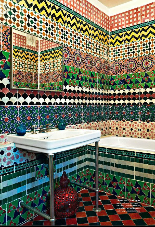 Bathroom tiled in multiple patterns