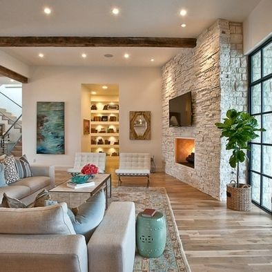 Love the light stone on the fireplace