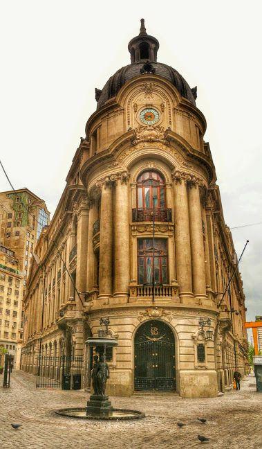 Santiago, Chile. The Santiago Stock Exchange Building in downtown