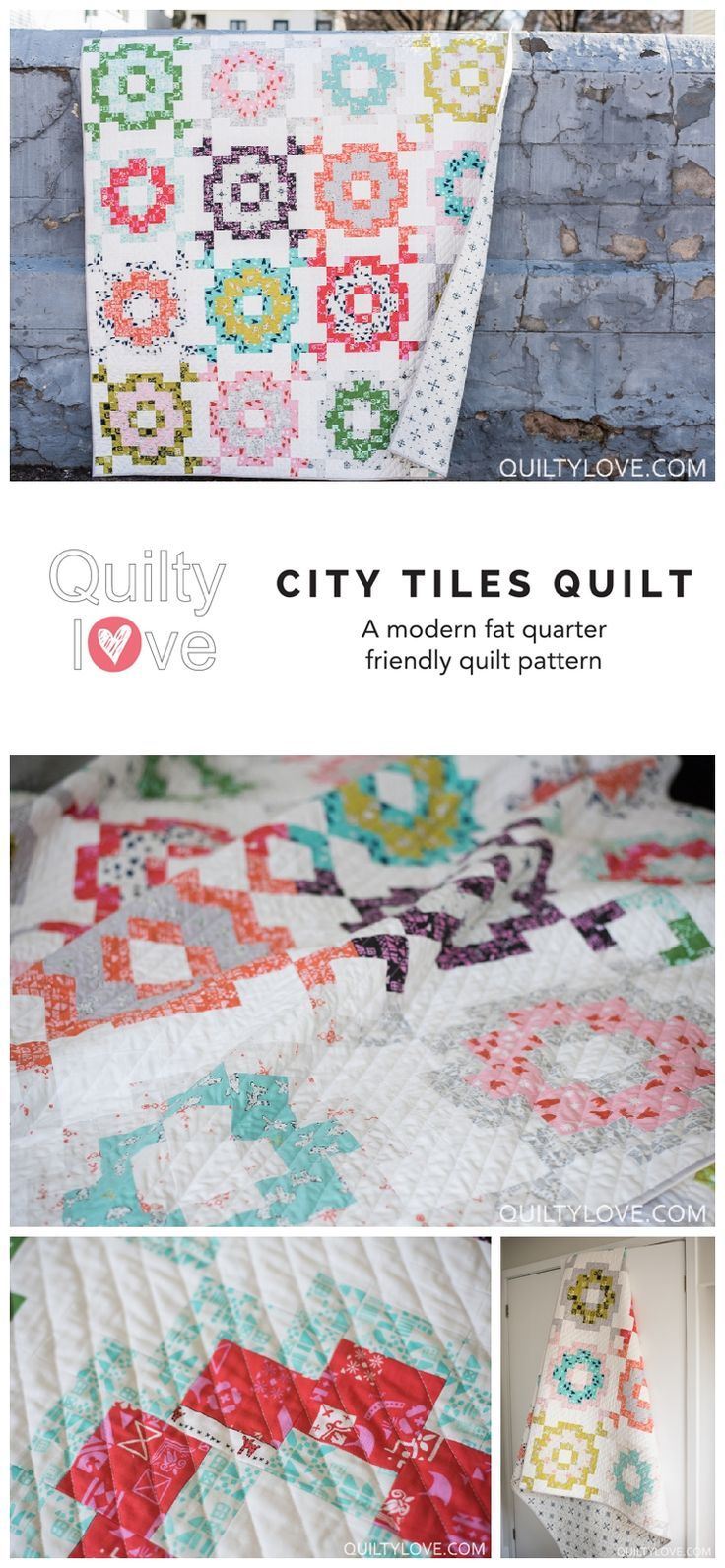 City Tiles quilt pattern by Emily of quiltylove.com.  Modern quilt pattern using Cotton and Steel fabrics.