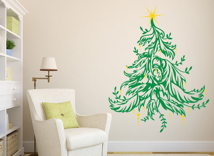 Traditional Christmas Tree Wall Art Sticker This Traditional Christmas Tree Wall  Sticker Features A Star And