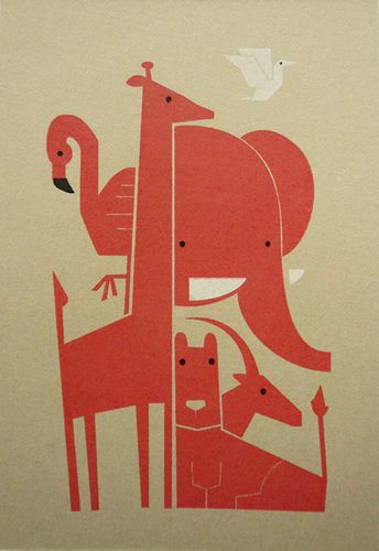 cute animals gocco print! from flickr