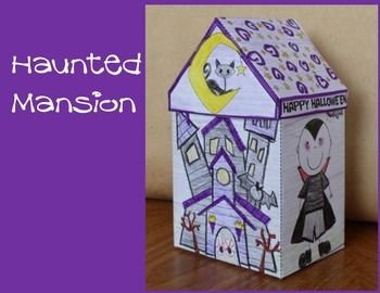Another fun Hallowe'en Craft - The Haunted Mansion. Included is a template that the students will color, cut and then glue together!  It's a great Hallowe'en keepsake.  Or, have your students make this Hallowe'en craft ahead of time and use them to decorate the classroom.