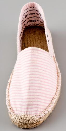 Alpargatas en rayas rosa y blanco. Me encantan.