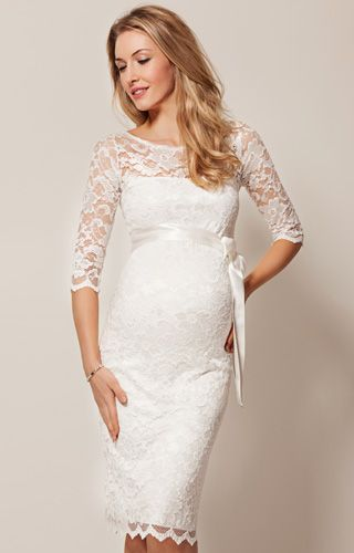 Amelia Lace Maternity Wedding Dress Short (Ivory) - Maternity Wedding Dresses, Evening Wear and Party Clothes by Tiffany Rose.