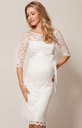 Robe de mariée grossesse en dentelle Amelia mi-longue (Ivoire) - Robes de maternité de mariée, tenues de maternité de soirée et vêtements pour soirée de Tiffany Rose.
