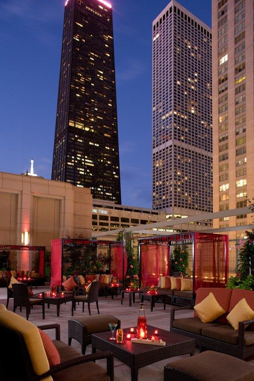 The Shanghai Terrance in Chicago   Hotel:** The Peninsula, Chicago  What you'll see: skyscrapers in downtown Chicago's Near North Side neighborhood, including the John Hancock Building and the Chicago Water Tower (both to the north)
