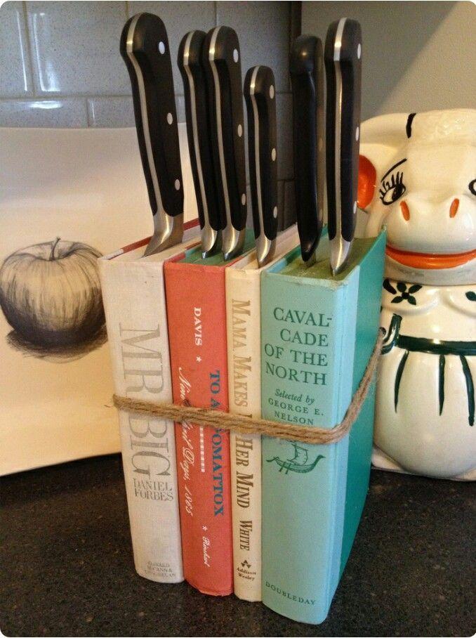Book Knife Block. Looks cute. #home #idea #hack
