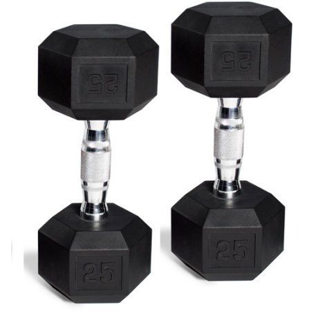 CAP Barbell Rubber-Coated Hex Dumbbells, Set of 2, Weight: 30 Lb Pair (60 Lbs Total).