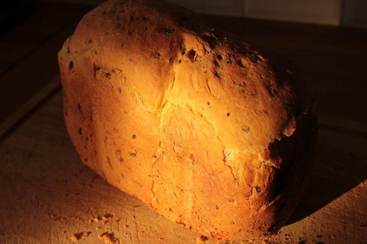 My white bread with tomato puree and oregano