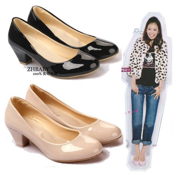 Free Shipping Women Casual Office Work Shoes Single Comfortable Lady Medium Heel Las Leather