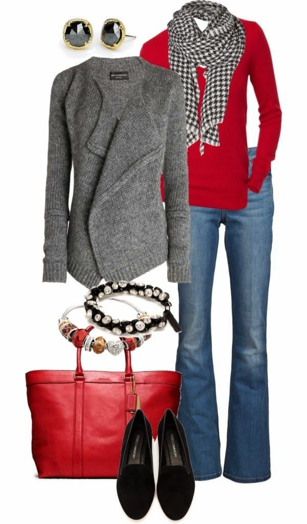 Love the sweater, love the scarf and bright red top, NOT flared jeans, but everything else is awesome.                                                                                                                                                     More