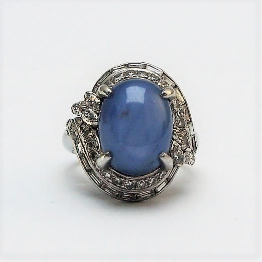 Star Sapphire and Diamond Cocktail Ring.