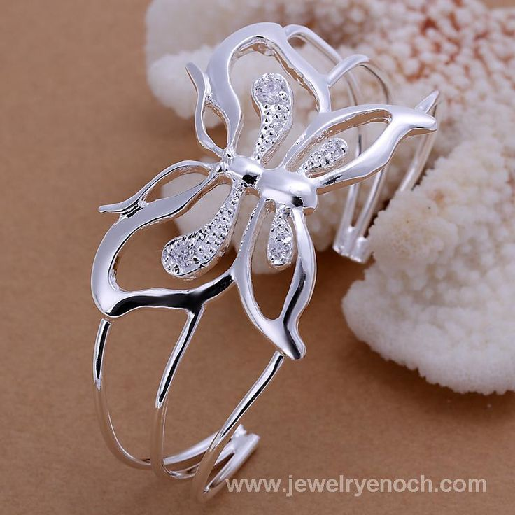 Fashion and nice butterly CZ 925 silver Bangle jewelry
