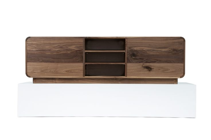 American Walnut Quarter Curved Audio Visual Unit.