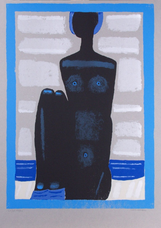 Jerzy Nowosielski | Akt czarnoniebieski, 1999 | serigraph/paper