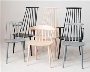 Møbler - Jørgen Bækmark & Poul M. Volther: 1 x stol model J104, 3 x armstol model J110 & 2 x spisebordsstol model J77 (6) -