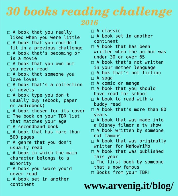 30 Books Reading Challenge 2016