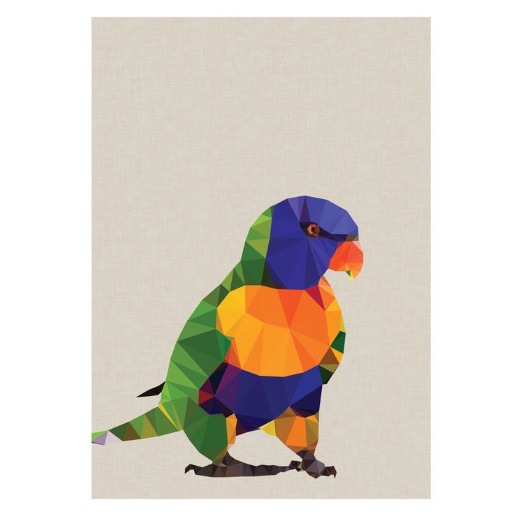 Geometric Rainbow Lorikeet art print. Please note colours on the actual print may be slightly different to the image shown, due to the colour settings of your screen.