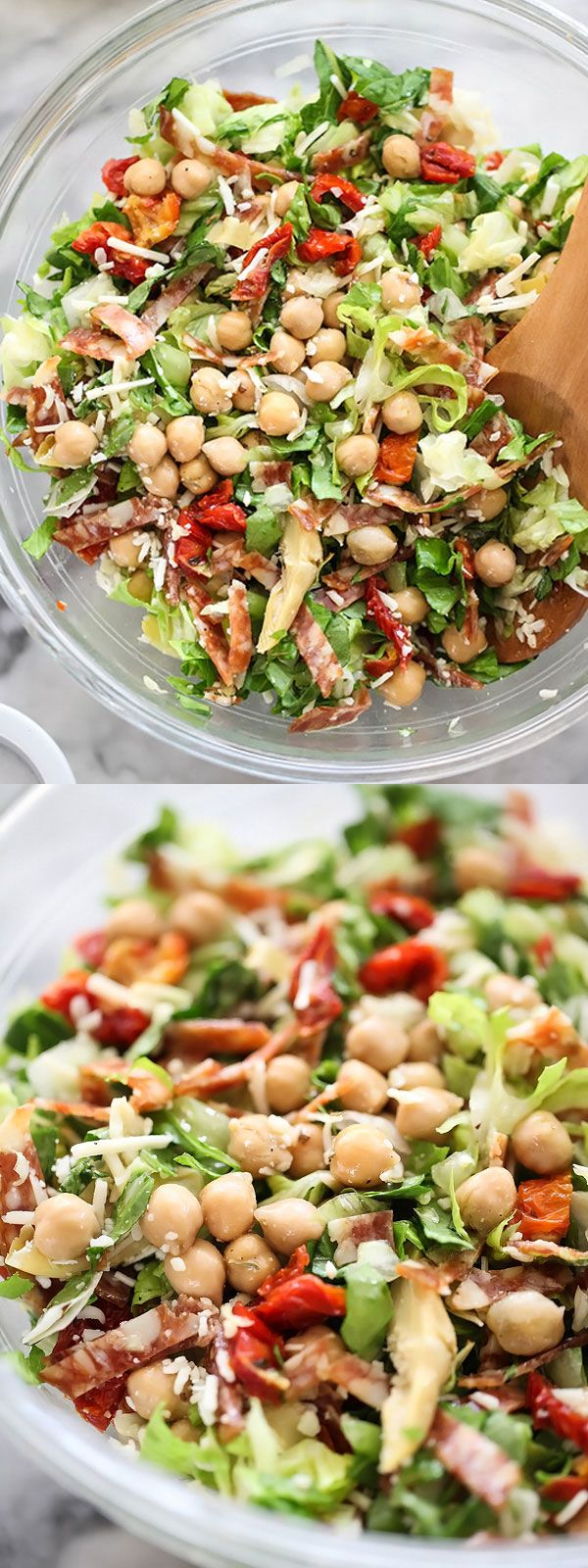 This salad is based on the famous La Scala salad in Los Angeles with the BEST dressing topping garbanzo beans, salami, artichoke hearts and sun dried tomatoes. It's one of my absolute favorites any time of year. | foodiecrush.com