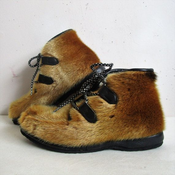 Vintage 60s Apres Ski Booties Labrador Elk Brown Fur Ski