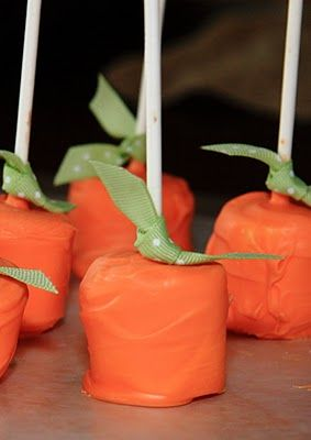 Chocolate Covered Marshmallow Pumpkins - For that fall wedding I am having...because you know there is NO way I am having a summer wedding. Ugh too hot.