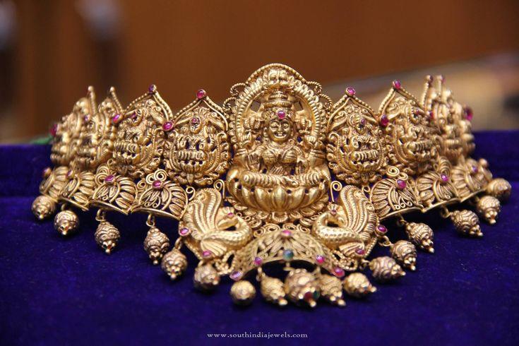 Temple Jewellery Choker Necklace designs, Gold Lakshmi Choker Necklace, Gold…