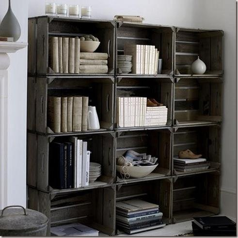 Estante de caixas de madeira.: Decor, Bookshelves, Ideas, Books Shelves, Crates Shelves, Bookca, Old Crates, Wooden Crates, Diy