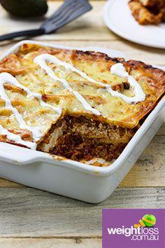 Mexican Beef Lasagne. #HealthyRecipes #DietRecipes #WeightLossRecipes weightloss.com.au