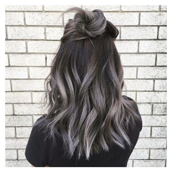 """Smoky Gray Ombré Hair Is the """"It"""" Hair Dye to Try for Fall ❤ liked on Polyvore featuring accessories and hair accessories"""
