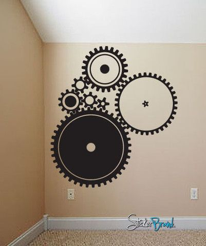 Vinyl Wall Decal Sticker Industrial Gear Pattern #718 | Stickerbrand wall art decals, wall graphics and wall murals.