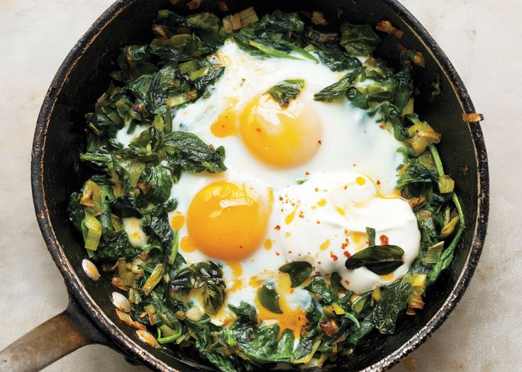 Skillet-Baked Eggs with Spinach, Yogurt, and Chili Oil - Bon Appétit