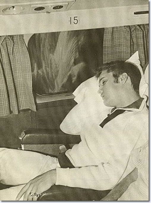 September 23, 1956 asleep, during his flight back to Memphis Elvis (using the name Clint Reno)