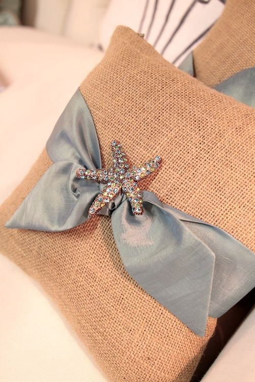 burlap pillow w/ bow and bling