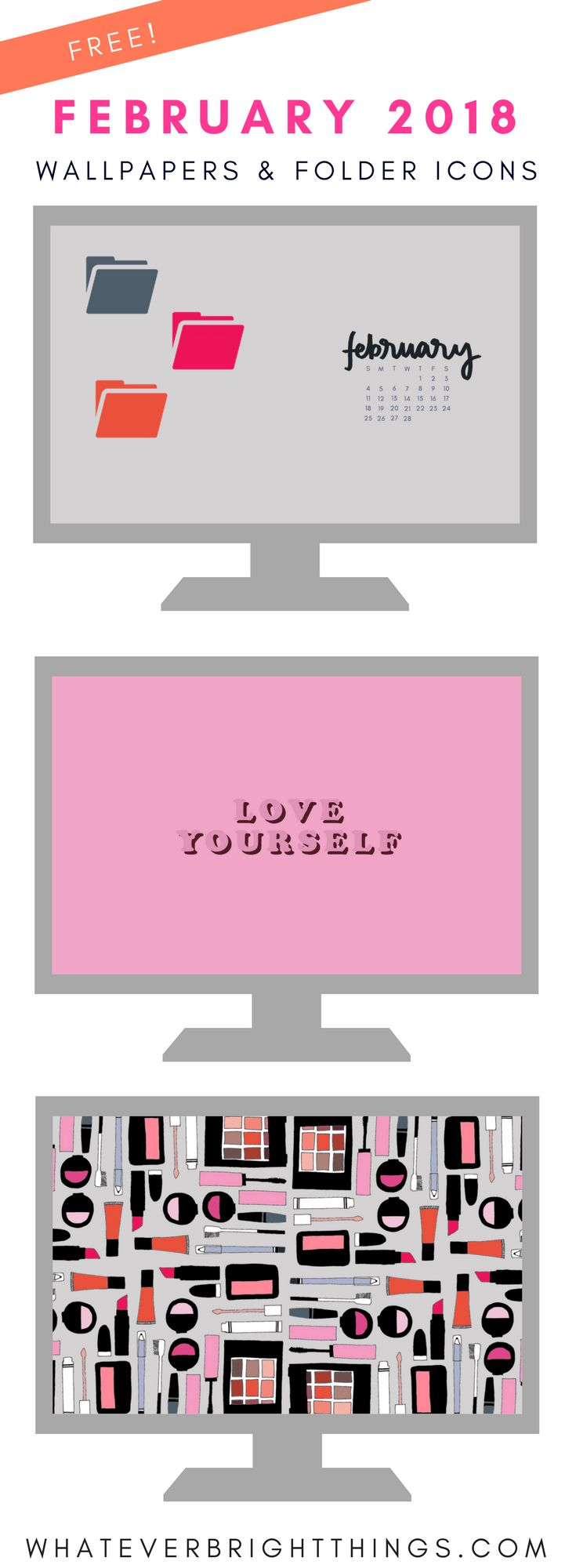 Decorate your Desktop for Valentine's Day with these February 2018 Wallpapers & Folder Icons! Whether you love a good pop of millennial pink, or a chic monochrome neutral look, there's a wallpaper for you! These computer designs are sure to help you organize your files and inspire your month.