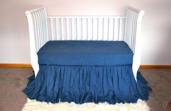 Blue Linen Crib Skirt Bedding Dust Ruffle Skirt In Blue