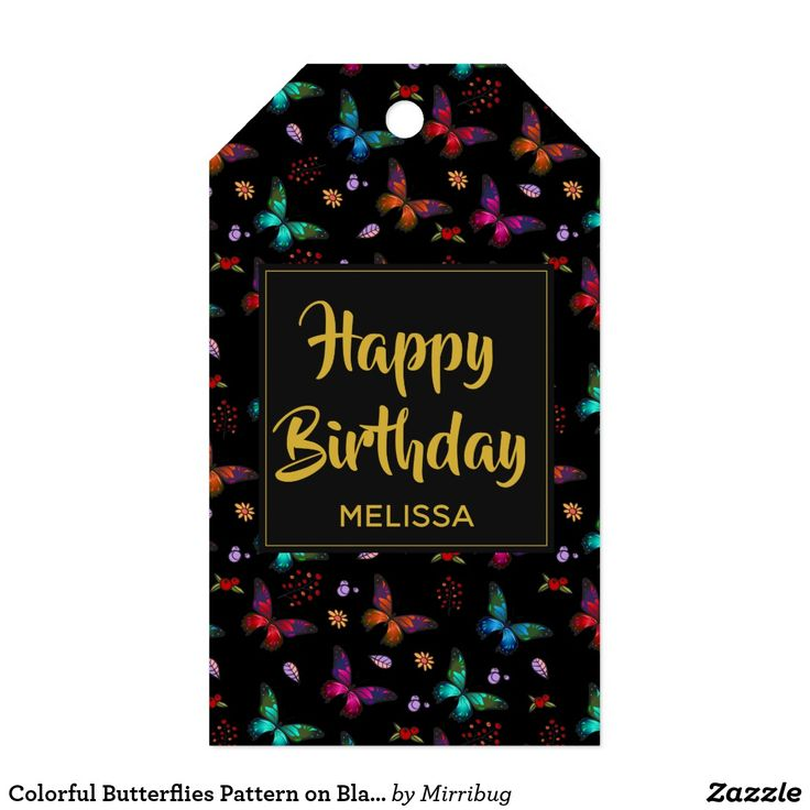 Colorful Butterflies Pattern on Black Birthday Gift Tags