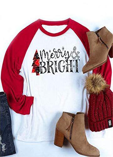 Buy ALLTB Plus Size Merry Bright Plaid Christmas Tree Baseball T