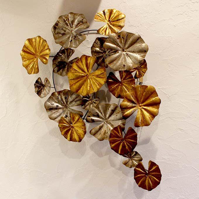 ロータス 蓮の葉 壁掛け アイアンオブジェ 壁掛けオブジェ ウォールオブジェ 壁飾り バリ島 おしゃれ インテリア