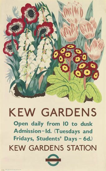 Betty Swanwick, Kew Gardens, London Transport poster 1937