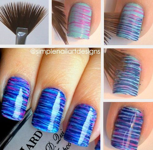 Stripes Nails: After using a base coat, get on a paper the colors you wish and with the help of a fan paint brush get the nail polish on the nail and switch the colors creating different patterns, and.. It's Done!!