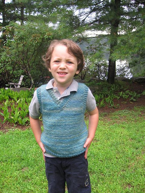 A pullover vest for children, written for worsted weight yarn at a gauge of 18 stitches to 4 inches. Great for girls or boys! Sizes 2, 4, 6, and 8.