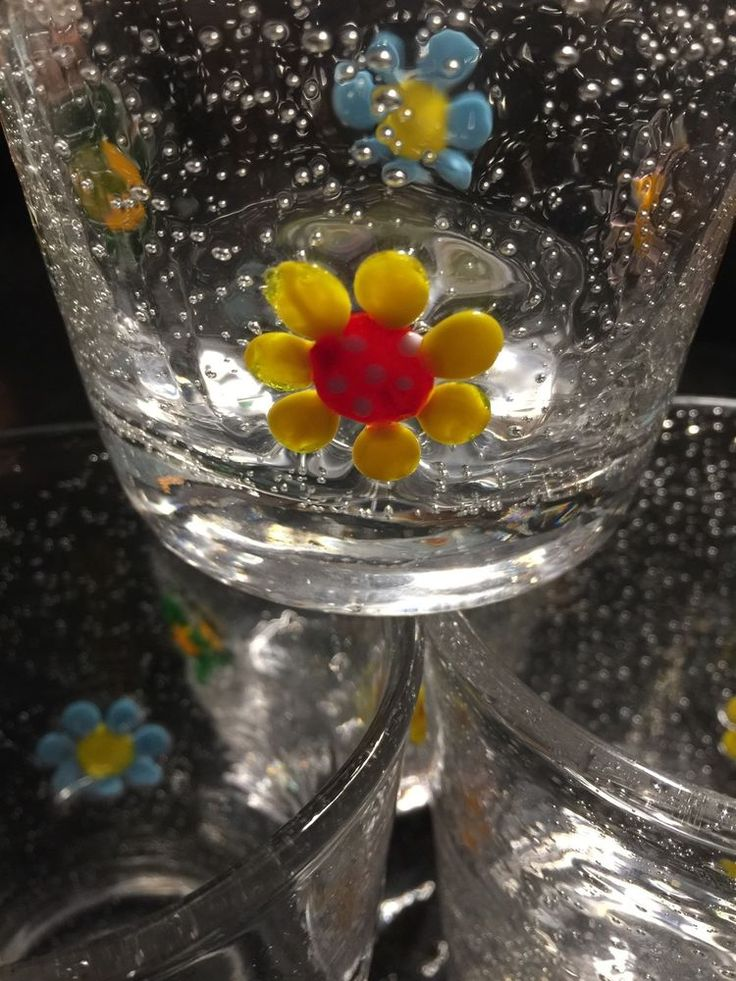 Set Of 4 ~ Clear Hand Blown Bubble Glass Drinking Glasses Bubbles Tumblers    eBay