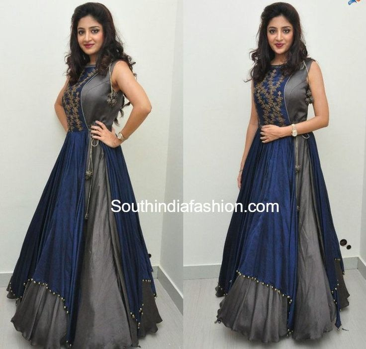 blue and grey colour gowns suit for good get together paety or for an award function