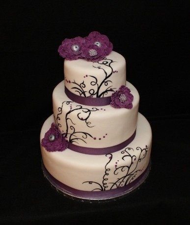 Modern Black Purple Silver White Garden Round Wedding Cake - Done in turquoise would work for us. I'd also add a butterfly or two.