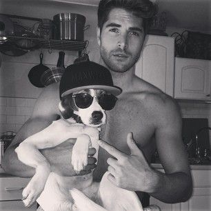 """Here he is with Nick Bateman all like, """"Sorry, the ladies love me more than they love you.""""   This Adorable Stray Dog Was Rescued By A Group Of Male Models"""